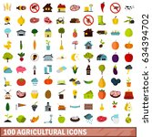 100 agricultural icons set in... | Shutterstock . vector #634394702