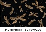 vintage seamless pattern with... | Shutterstock .eps vector #634399208