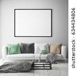 mock up poster frame in hipster ... | Shutterstock . vector #634434806