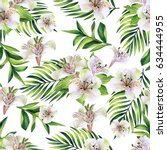 seamless pattern with tropical... | Shutterstock . vector #634444955