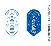 saint petersburg rostral column ... | Shutterstock .eps vector #634457042