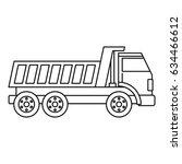 dumper truck icon in outline... | Shutterstock .eps vector #634466612
