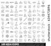 100 aqua icons set in outline... | Shutterstock .eps vector #634473896