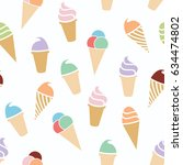 vector seamless ice cream... | Shutterstock .eps vector #634474802