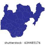 high detailed blue vector map   ... | Shutterstock .eps vector #634485176