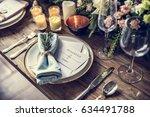 elegant restaurant table...   Shutterstock . vector #634491788