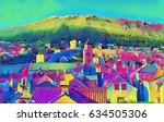 old european city and mountains