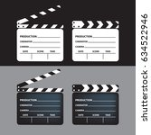 set of movie clapperboard.... | Shutterstock .eps vector #634522946
