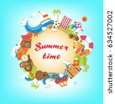 summer time sandy circle banner ... | Shutterstock .eps vector #634527002