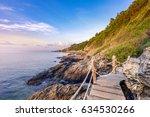 wooden walkway bridge seashore... | Shutterstock . vector #634530266