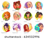 set of horoscope signs as women.... | Shutterstock .eps vector #634532996