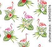 seamless pattern tropical bird... | Shutterstock .eps vector #634543376