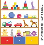 shelving with toys flat design... | Shutterstock .eps vector #634553012