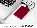 external hard drive connected... | Shutterstock . vector #634558745
