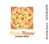 pizza logo with text space for... | Shutterstock .eps vector #634581896