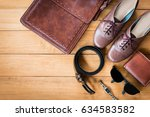 top view of outfit fashion for... | Shutterstock . vector #634583582