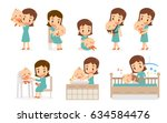 Mom and Baby. Flat design. Mom and baby in various actions.   Shutterstock vector #634584476