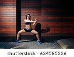 young girl doing yoga fitness... | Shutterstock . vector #634585226