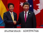 Small photo of HANGZHOU, CHINA - SEPT. 4. 2016 - Chinese president Xi Jinping (R) welcomes Japanese Prime Minister Shinzo Abe (L) in G20 summit in Hangzhou.
