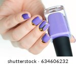 the violet purple moon manicure ... | Shutterstock . vector #634606232