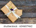 above brown gift box white...   Shutterstock . vector #634607462