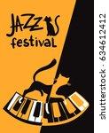 Stock vector creative conceptual music festival vector cats on the piano 634612412