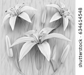 3d Flowers  White Lilies