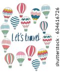 cute colorful hot air balloons... | Shutterstock .eps vector #634616726