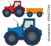 red and blue tractors with... | Shutterstock .eps vector #634617266