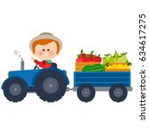 farmer driving a tractor and... | Shutterstock .eps vector #634617275