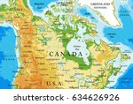 physical map of canada | Shutterstock .eps vector #634626926