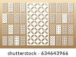 die cut card. laser cut 33... | Shutterstock .eps vector #634643966