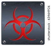 vector biohazard sign on dark... | Shutterstock .eps vector #63464926