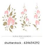set of floral design elements.... | Shutterstock .eps vector #634654292