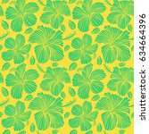 hibiscus flower pattern on a... | Shutterstock .eps vector #634664396