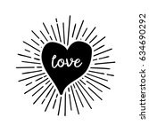 doodle hearts love pattern with ... | Shutterstock .eps vector #634690292