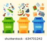 recycling garbage elements... | Shutterstock .eps vector #634701242