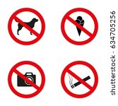 set of prohibition signs at the ... | Shutterstock .eps vector #634705256