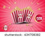 3d popcorn isolated on the pink ... | Shutterstock .eps vector #634708382