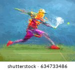 abstract tennis player | Shutterstock .eps vector #634733486
