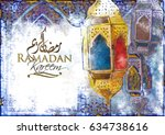 ramadan kareem greeting  ... | Shutterstock . vector #634738616
