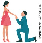 loving couple woman and man... | Shutterstock .eps vector #634738946