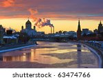 sunset over moscow river  moscow | Shutterstock . vector #63474766