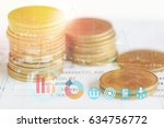 pile coin money with account... | Shutterstock . vector #634756772