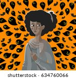 african girl stressed anxiety... | Shutterstock .eps vector #634760066
