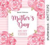 watercolor mother's day... | Shutterstock .eps vector #634772192