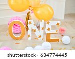one year party decorations.... | Shutterstock . vector #634774445