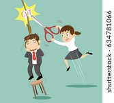 businesswoman cut the rope to... | Shutterstock .eps vector #634781066