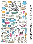 hand drawn doodles with baby... | Shutterstock .eps vector #634785575