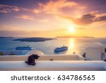 A black cat on a ledge at sunset at Fira town, with view of caldera, volcano and cruise ships, Santorini, Greece. Cloudy dramatic sky. - stock photo